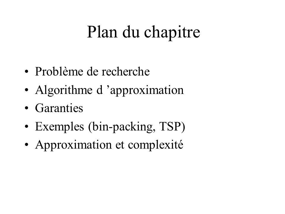 Plan du chapitre Problème de recherche Algorithme d 'approximation