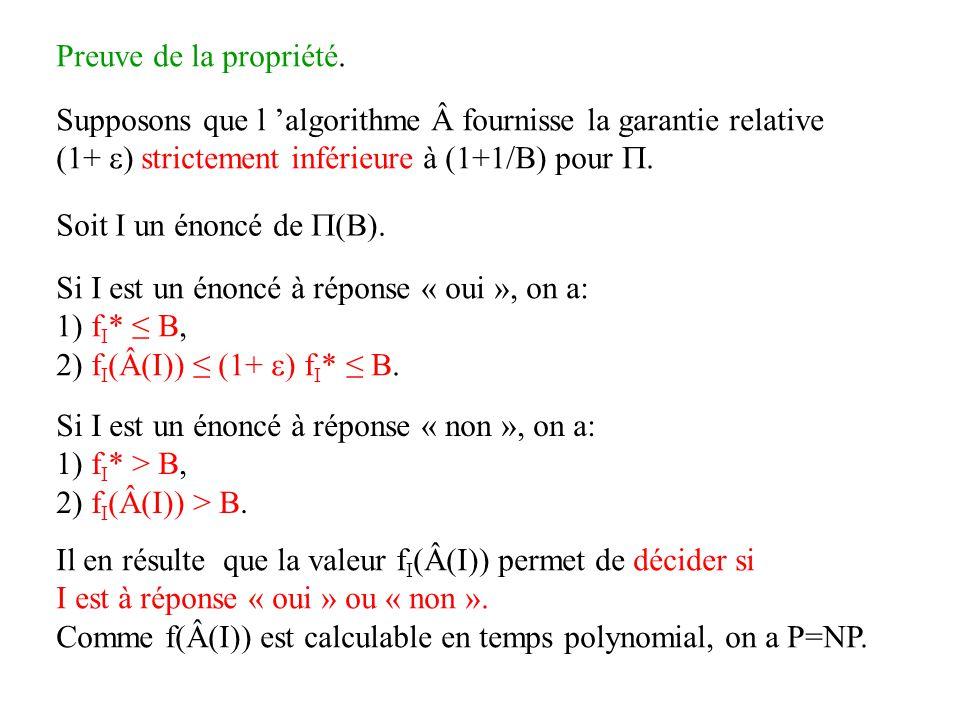 Preuve de la propriété. Supposons que l 'algorithme fournisse la garantie relative. (1+ ) strictement inférieure à (1+1/B) pour .