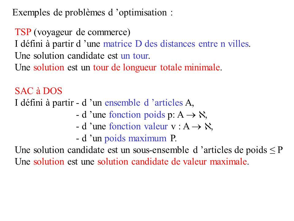 Exemples de problèmes d 'optimisation :