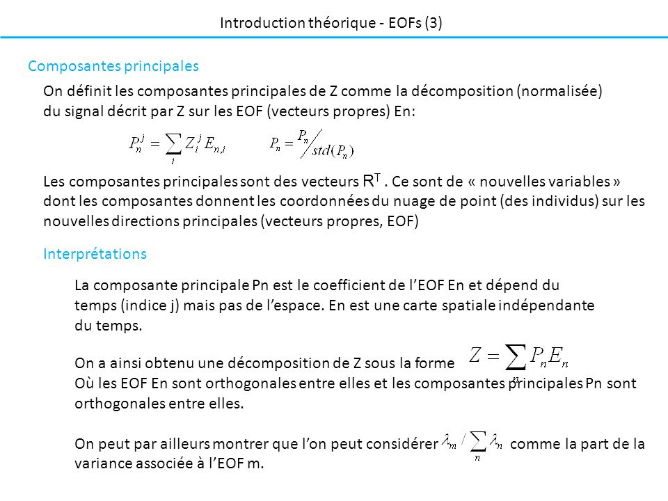 Introduction théorique - EOFs (3)