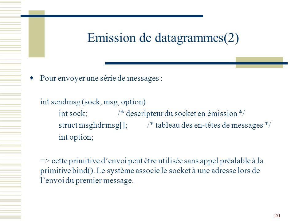 Emission de datagrammes(2)