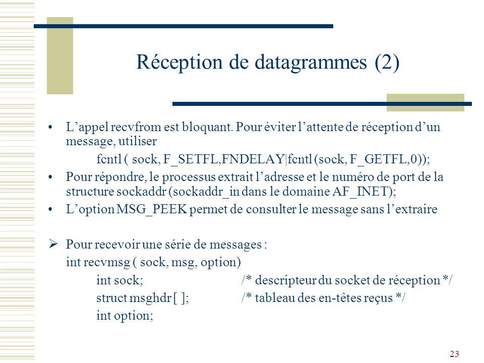 Réception de datagrammes (2)