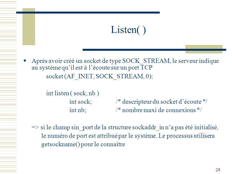 Listen( ) Après avoir créé un socket de type SOCK_STREAM, le serveur indique au système qu'il est à l'écoute sur un port TCP.