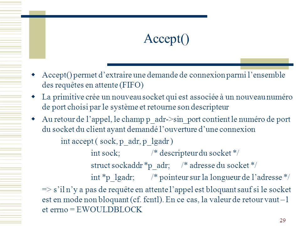 Accept() Accept() permet d'extraire une demande de connexion parmi l'ensemble des requêtes en attente (FIFO)