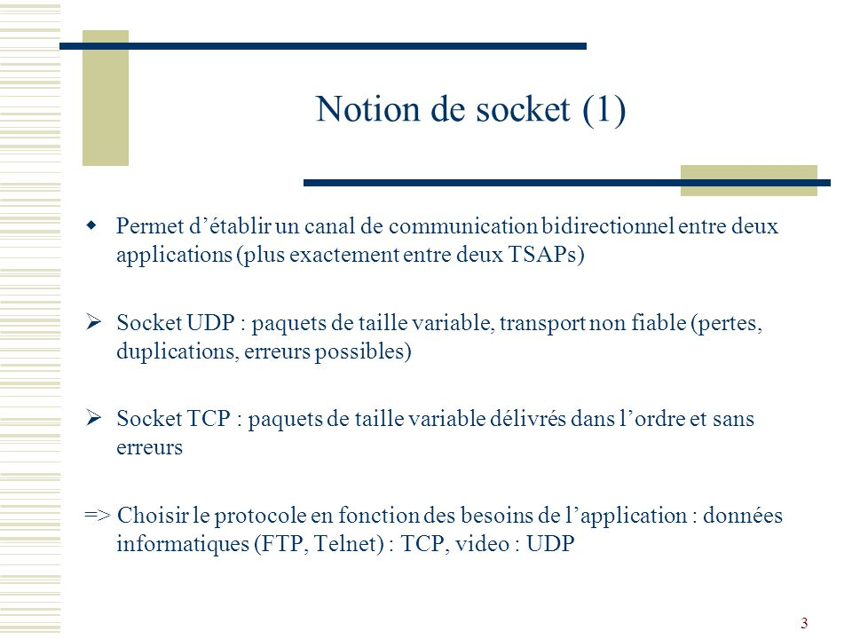 Notion de socket (1) Permet d'établir un canal de communication bidirectionnel entre deux applications (plus exactement entre deux TSAPs)