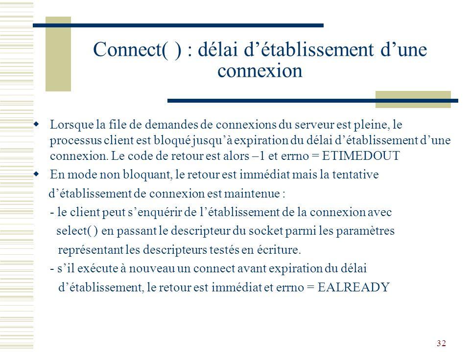 Connect( ) : délai d'établissement d'une connexion
