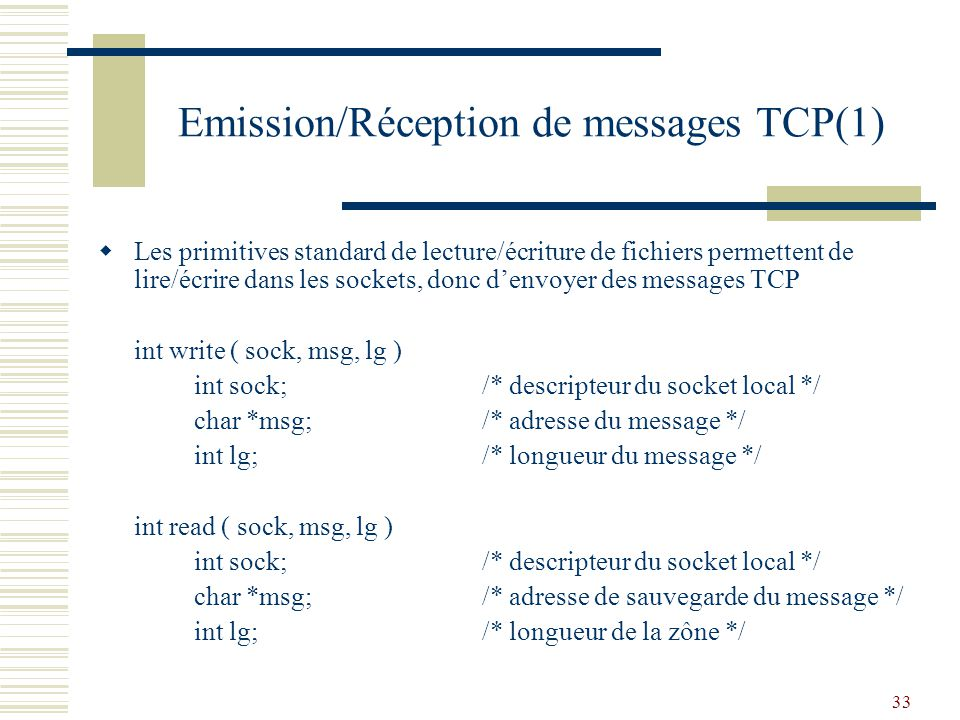 Emission/Réception de messages TCP(1)