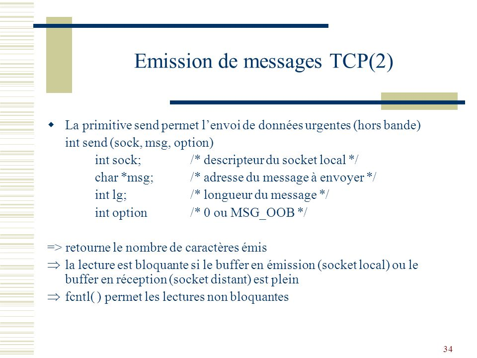 Emission de messages TCP(2)