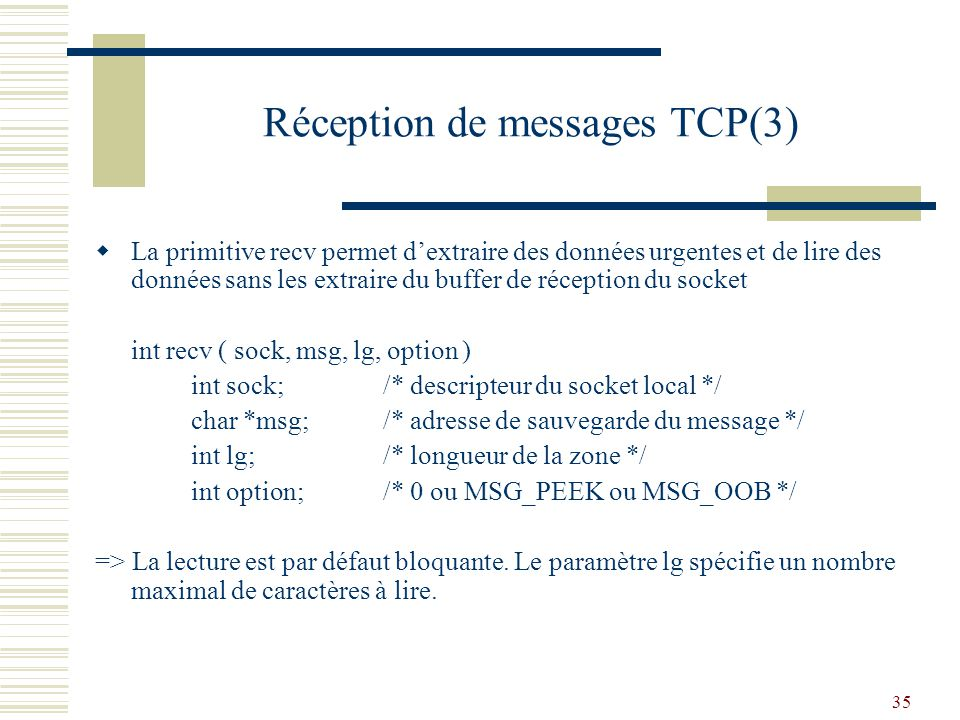 Réception de messages TCP(3)