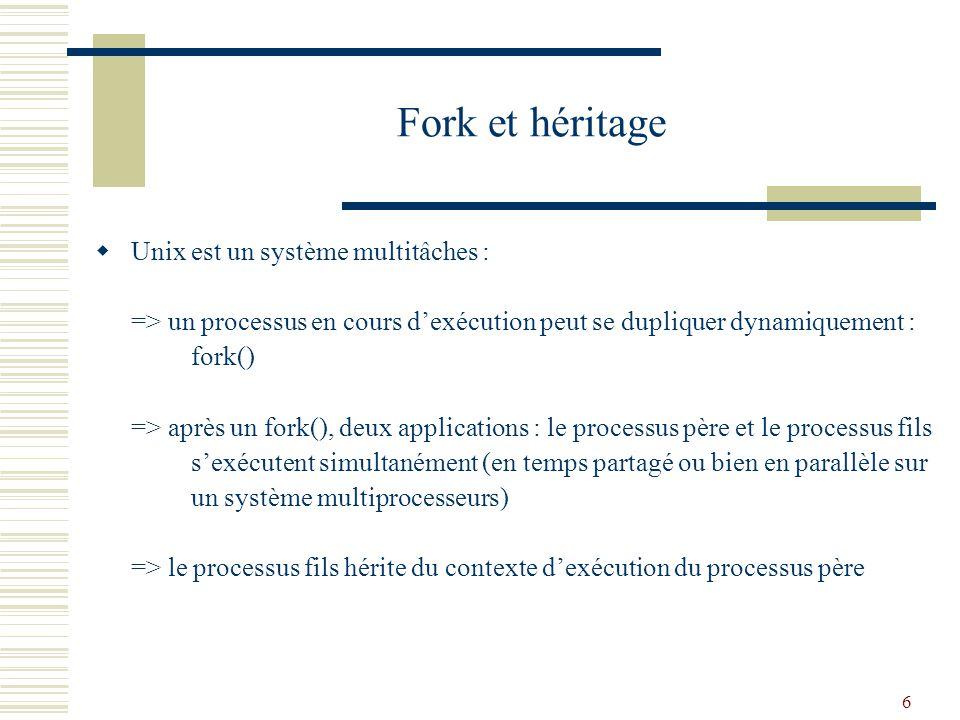 Fork et héritage Unix est un système multitâches :