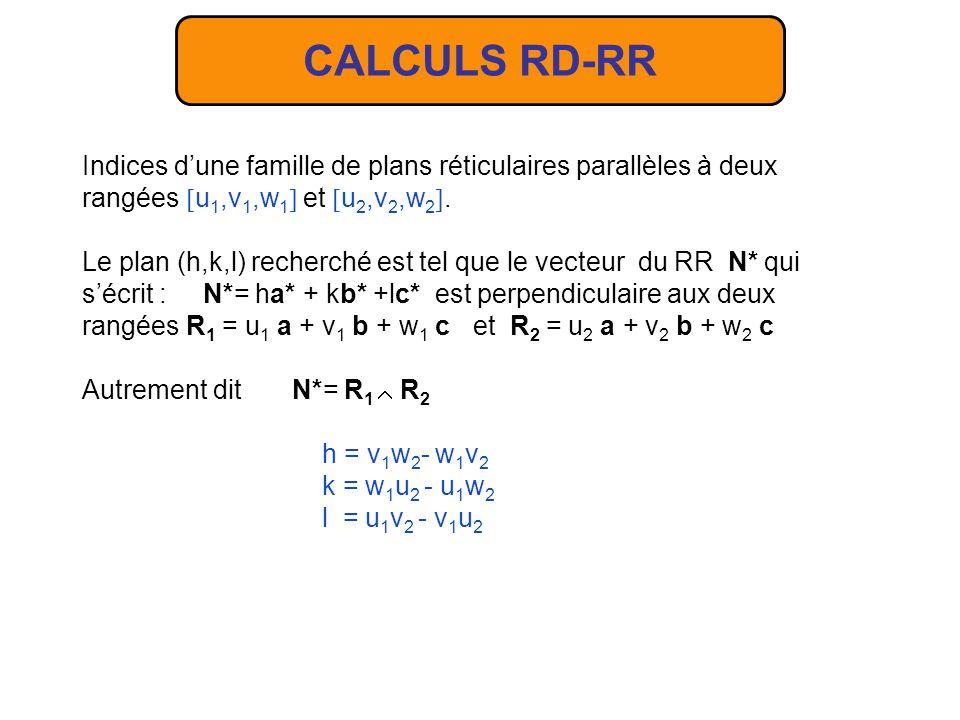 CALCULS RD-RR Indices d'une famille de plans réticulaires parallèles à deux. rangées u1,v1,w1 et u2,v2,w2.