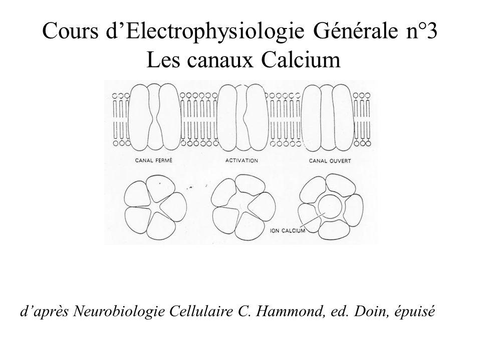 Cours d'Electrophysiologie Générale n°3 Les canaux Calcium