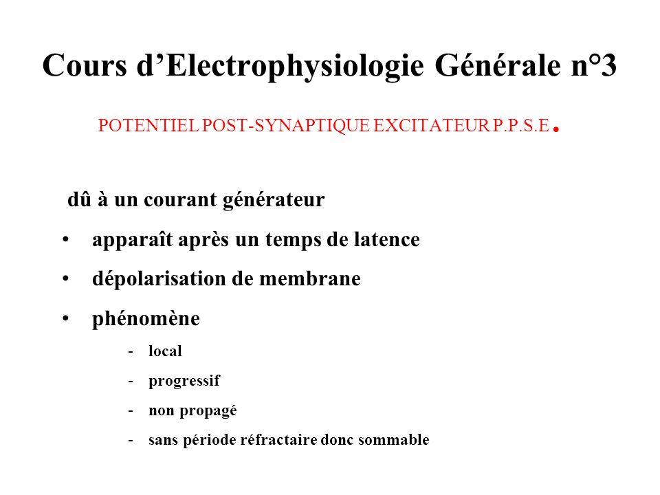 Cours d'Electrophysiologie Générale n°3 POTENTIEL POST-SYNAPTIQUE EXCITATEUR P.P.S.E.