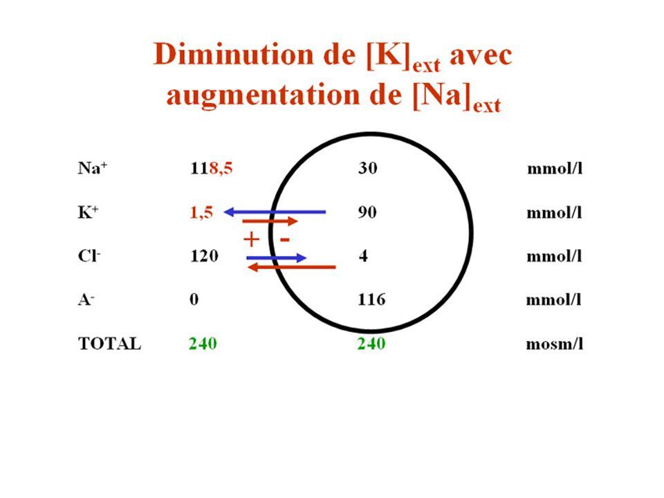 Diminution de K augmentation de Na 1