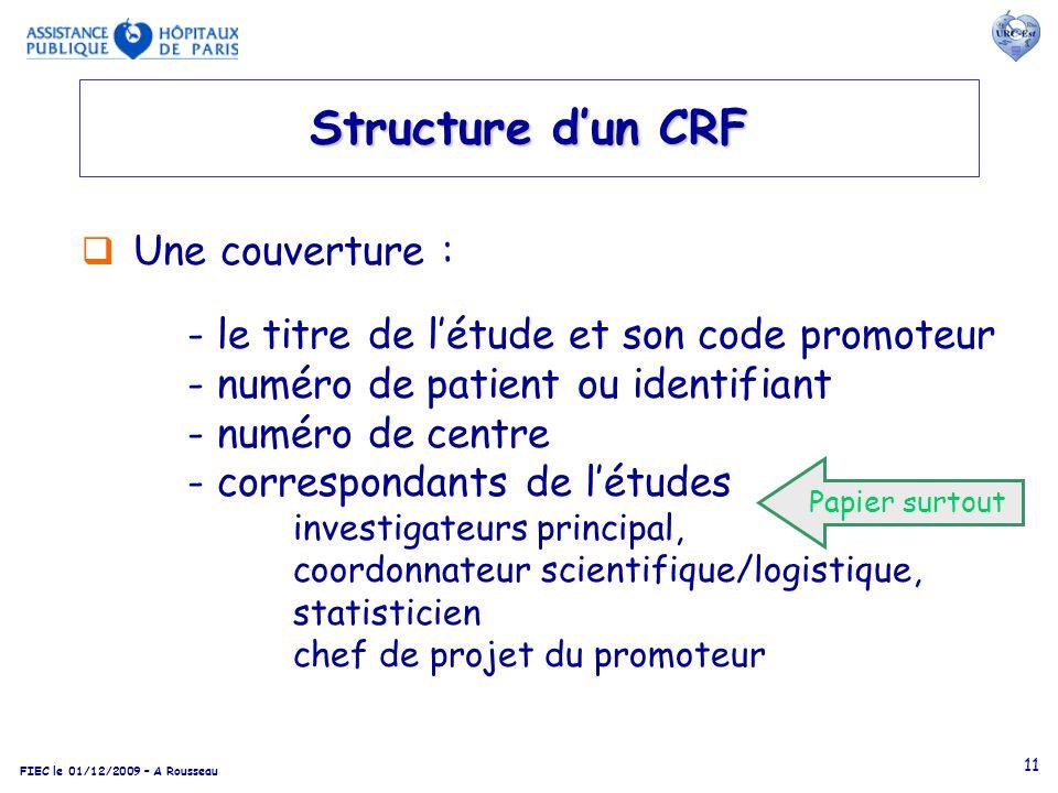 Structure d'un CRF Une couverture :