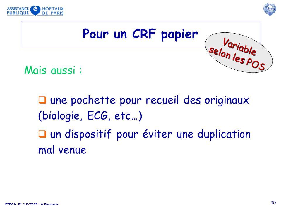 Pour un CRF papier Mais aussi :