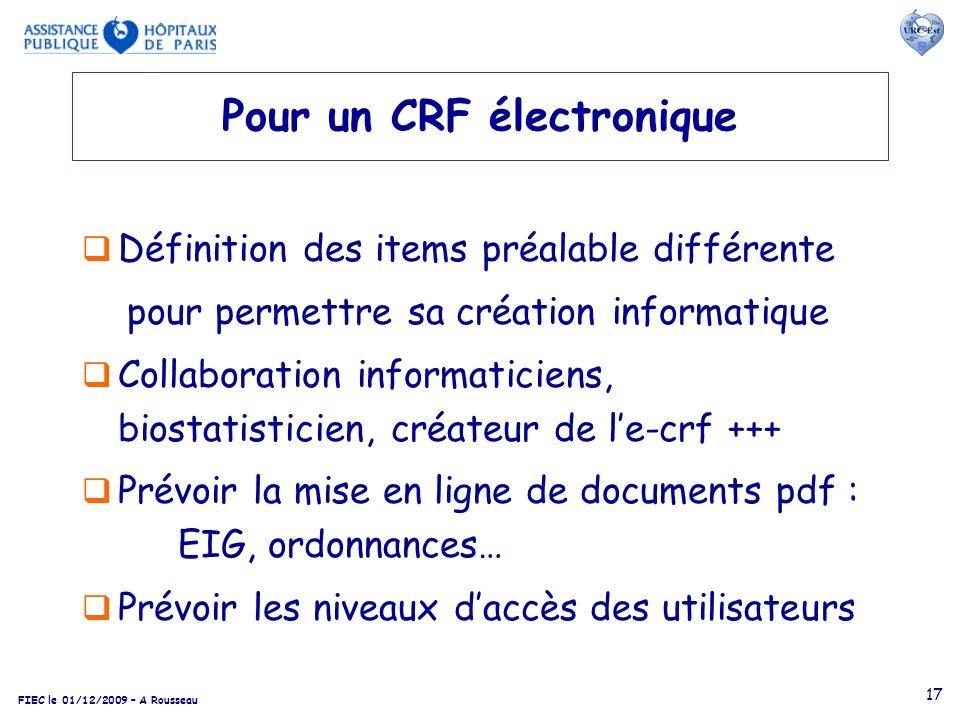 Pour un CRF électronique