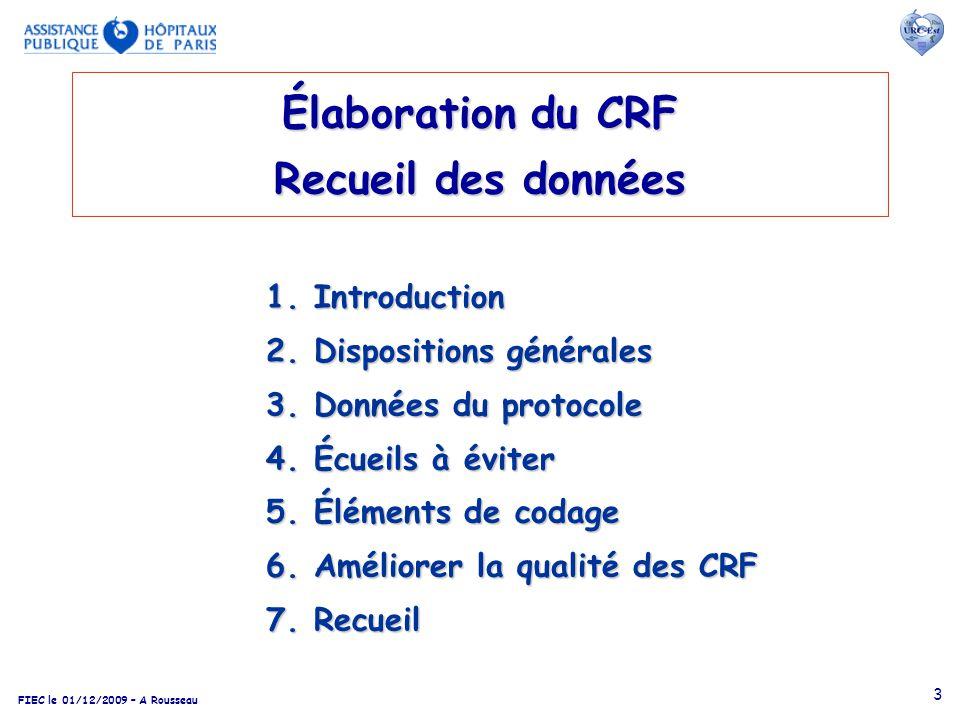 Élaboration du CRF Recueil des données