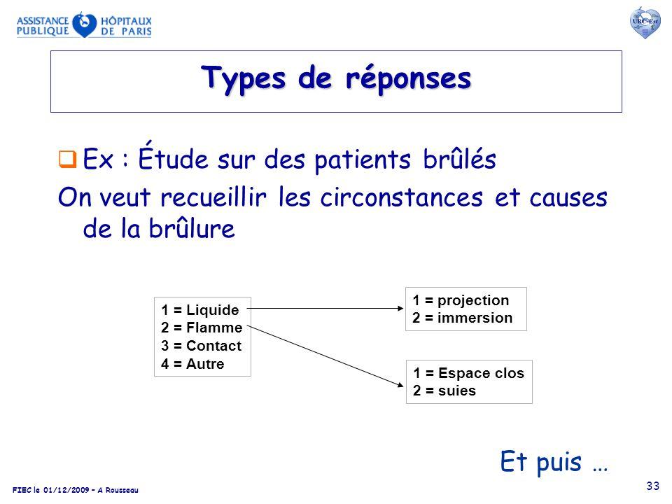 Types de réponses Ex : Étude sur des patients brûlés