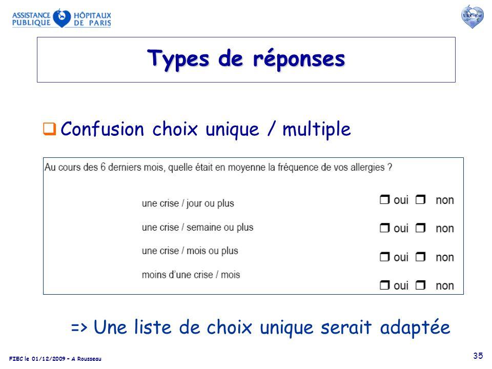 Types de réponses Confusion choix unique / multiple
