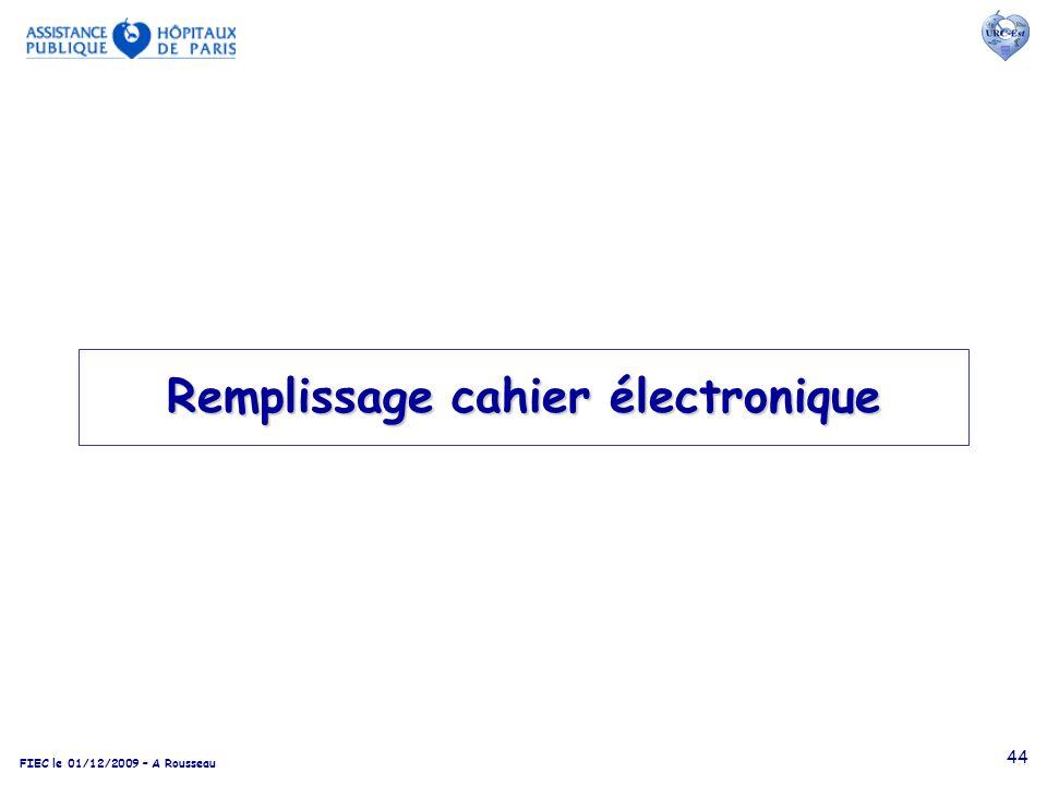 Remplissage cahier électronique