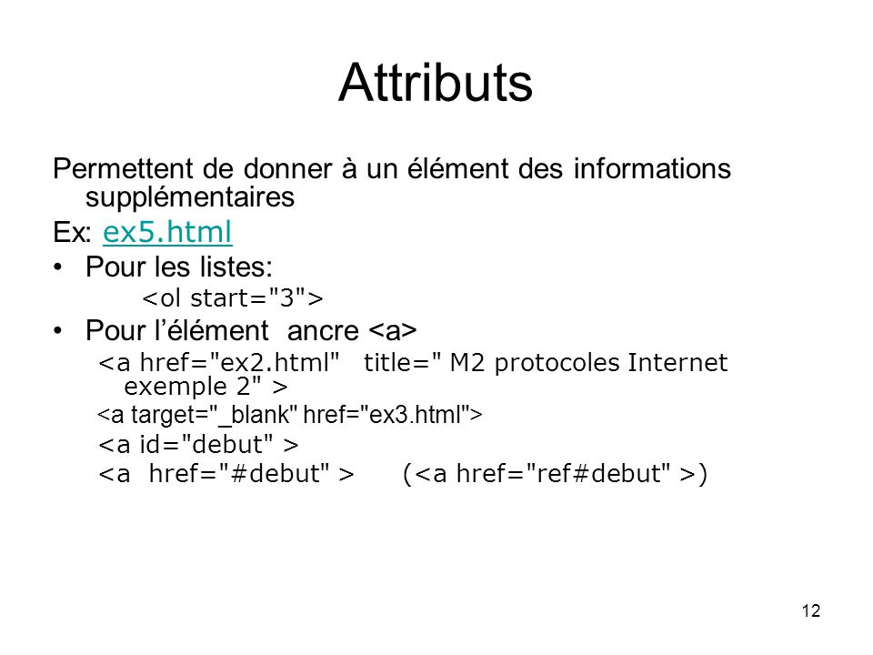 Attributs Permettent de donner à un élément des informations supplémentaires. Ex: ex5.html. Pour les listes: