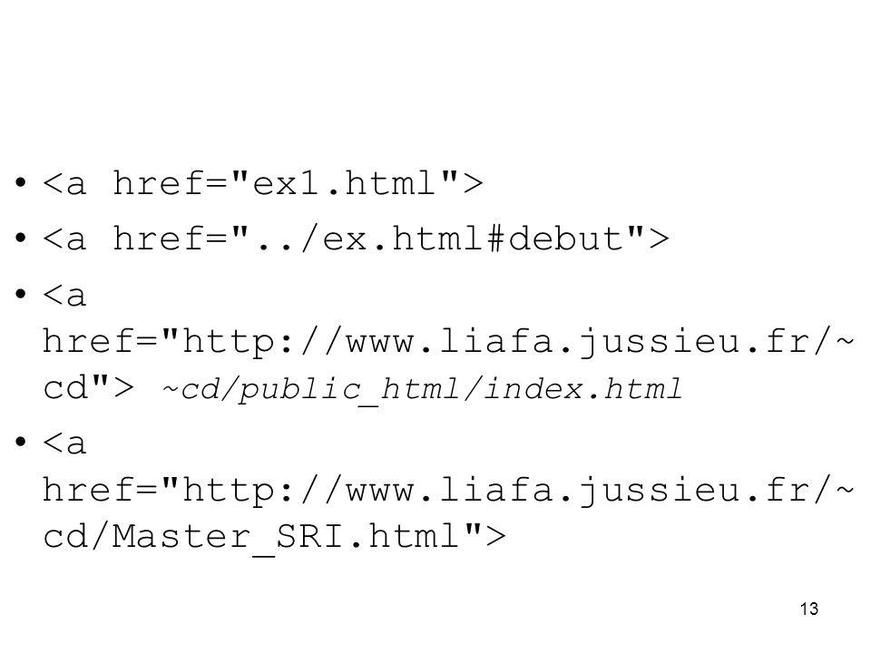 <a href= ex1.html > <a href= ../ex.html#debut >