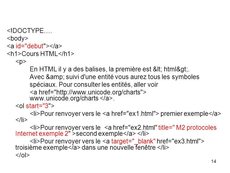 <!DOCTYPE…. <body> <a id= debut ></a> <h1>Cours HTML</h1> <p> En HTML il y a des balises, la première est < html>.