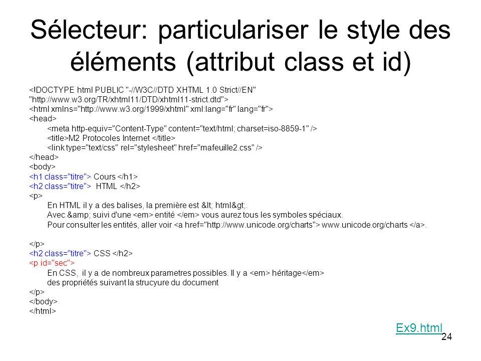 Sélecteur: particulariser le style des éléments (attribut class et id)