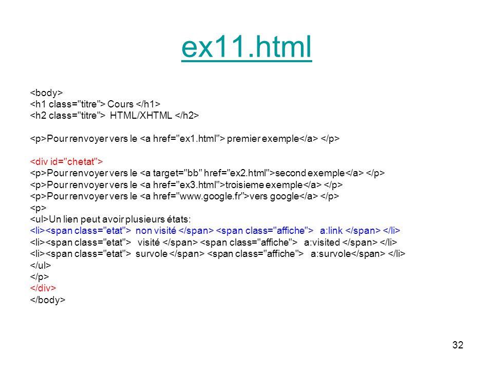 ex11.html <body> <h1 class= titre > Cours </h1>