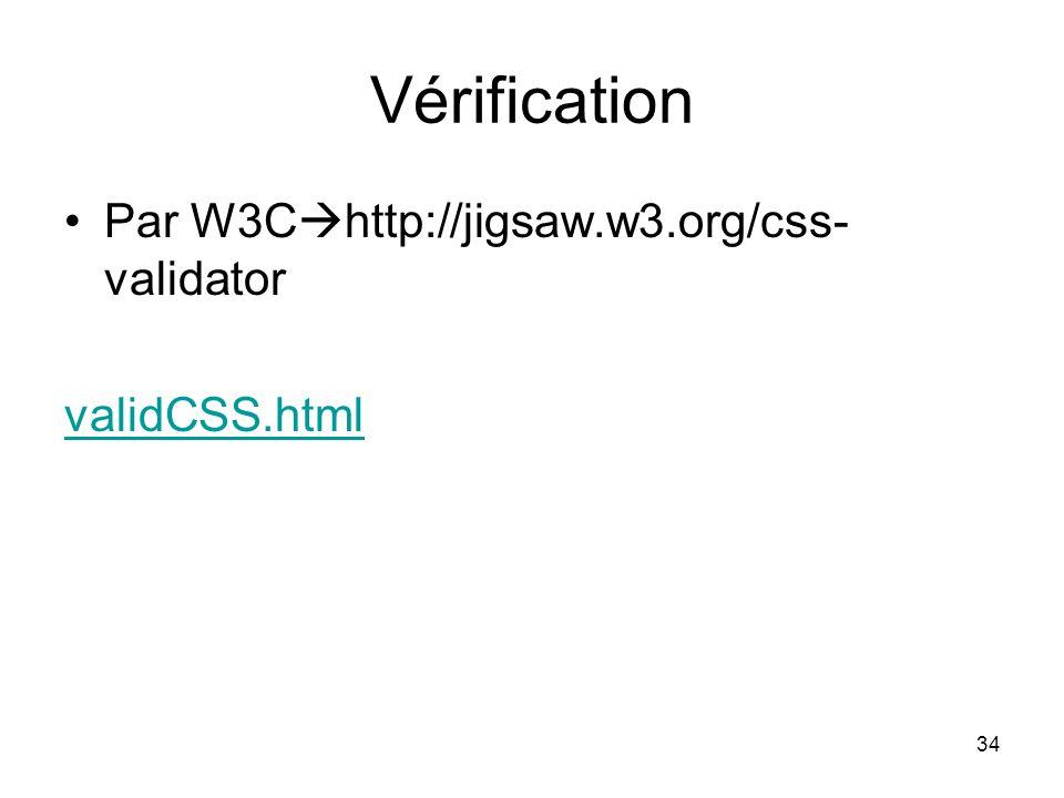 Vérification Par W3Chttp://jigsaw.w3.org/css-validator validCSS.html