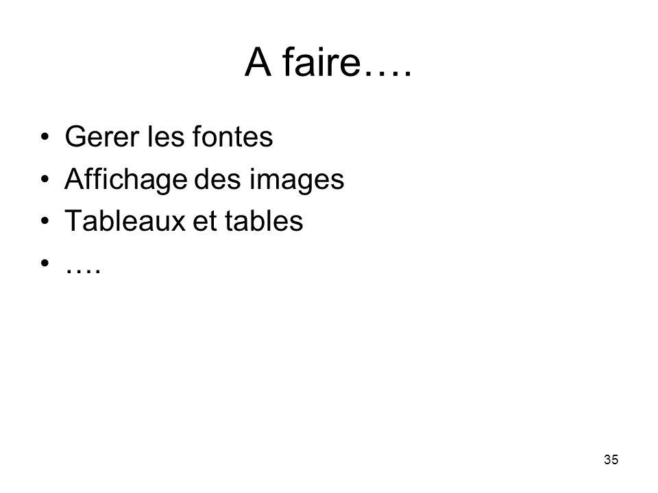 A faire…. Gerer les fontes Affichage des images Tableaux et tables ….