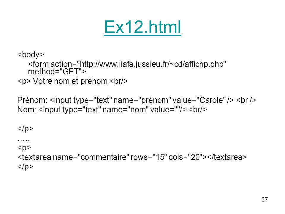 Ex12.html <body> <form action= http://www.liafa.jussieu.fr/~cd/affichp.php method= GET > <p> Votre nom et prénom <br/>