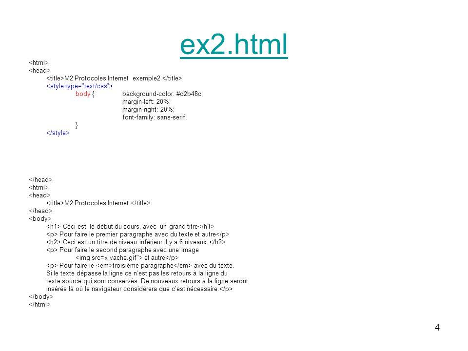 ex2.html Css pour le style Balise style avec un attribut