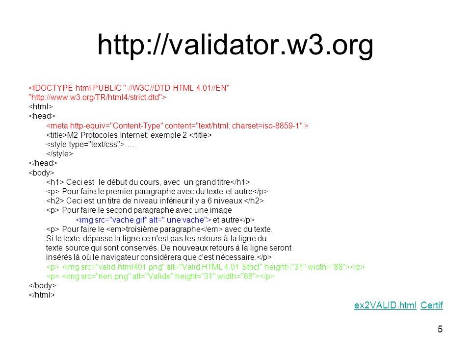 http://validator.w3.org ex2VALID.html Certif
