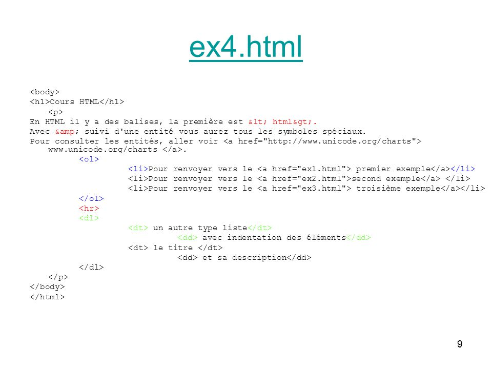 ex4.html <body> <h1>Cours HTML</h1> <p>