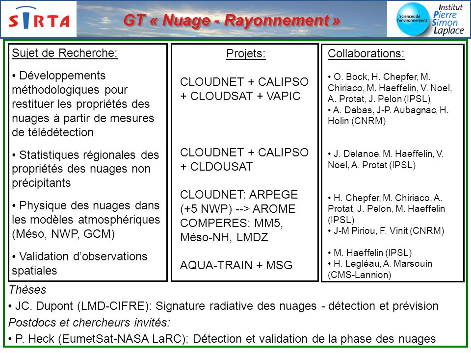 GT « Nuage - Rayonnement »