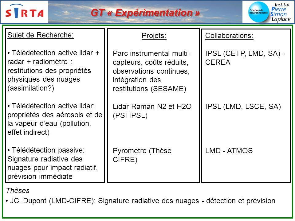 GT « Expérimentation » Sujet de Recherche: