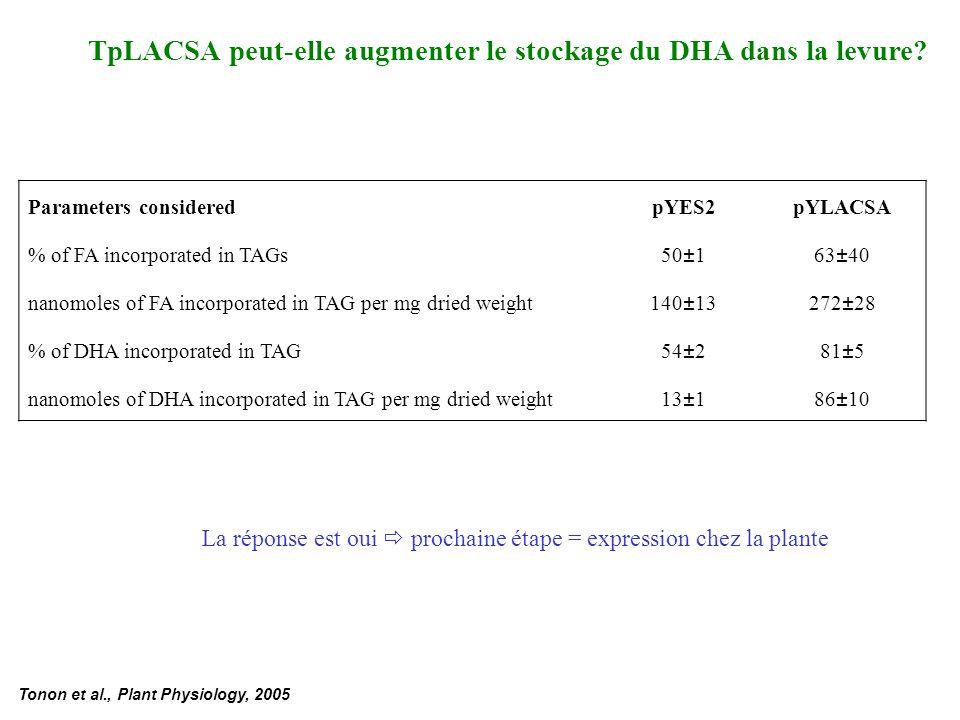 TpLACSA peut-elle augmenter le stockage du DHA dans la levure