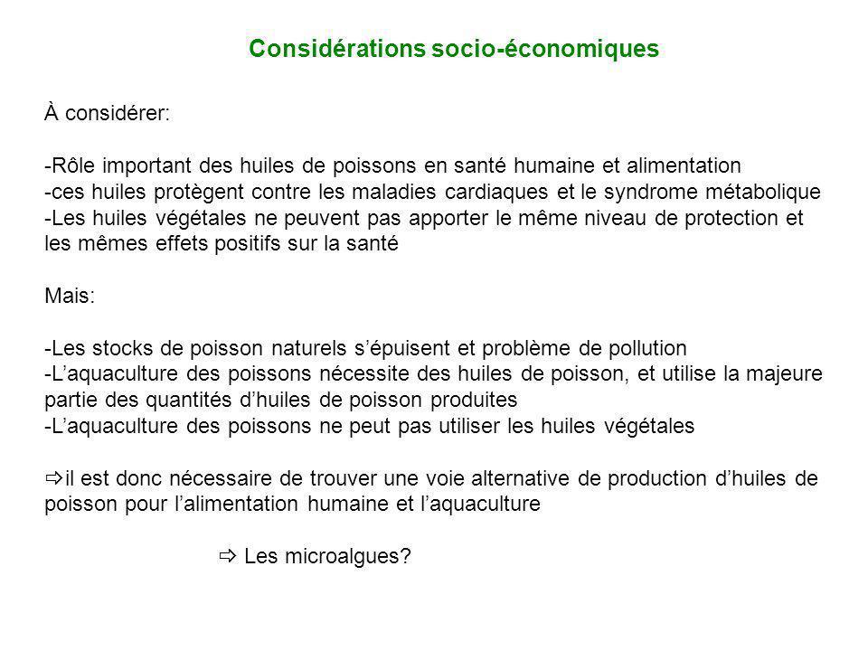 Considérations socio-économiques