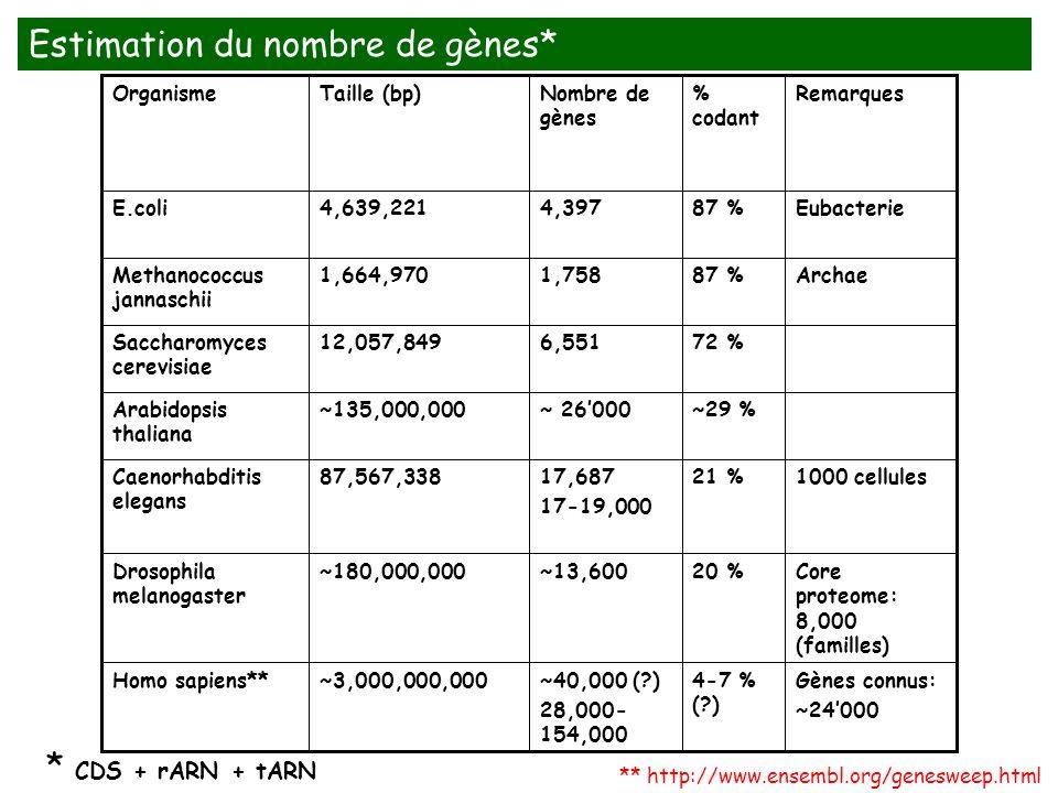 Estimation du nombre de gènes*