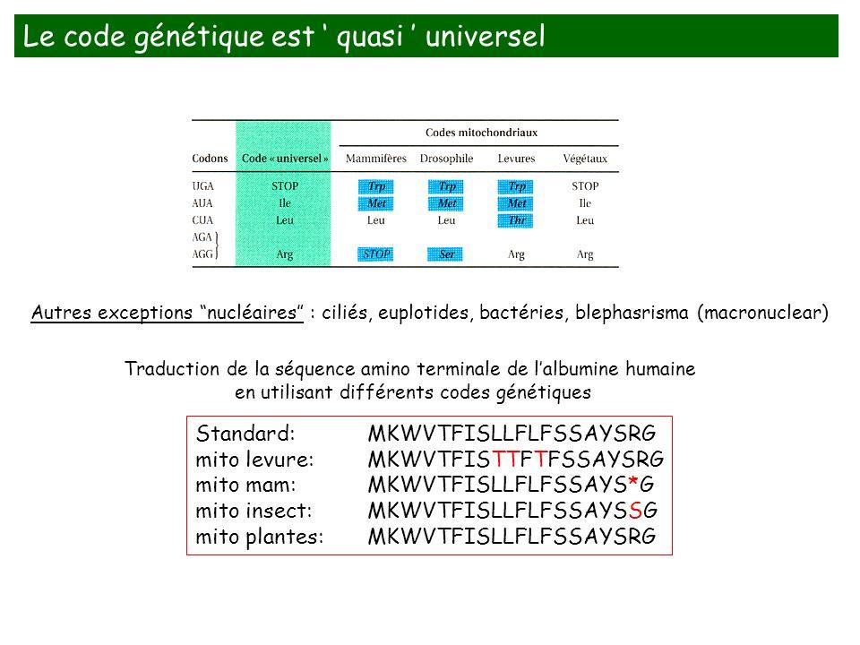 Le code génétique est ' quasi ' universel