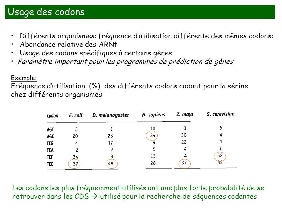 Usage des codons Différents organismes: fréquence d'utilisation différente des mêmes codons; Abondance relative des ARNt.