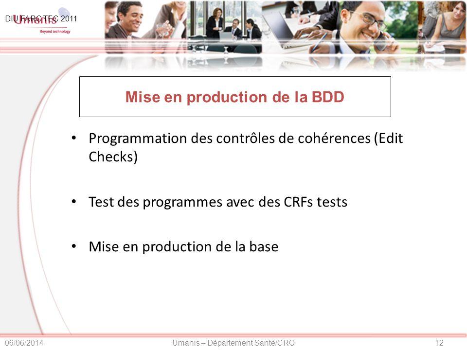 Mise en production de la BDD
