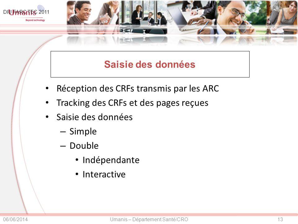 Réception des CRFs transmis par les ARC