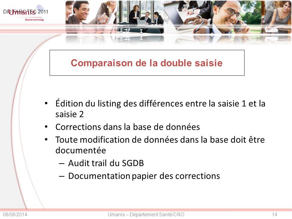Comparaison de la double saisie
