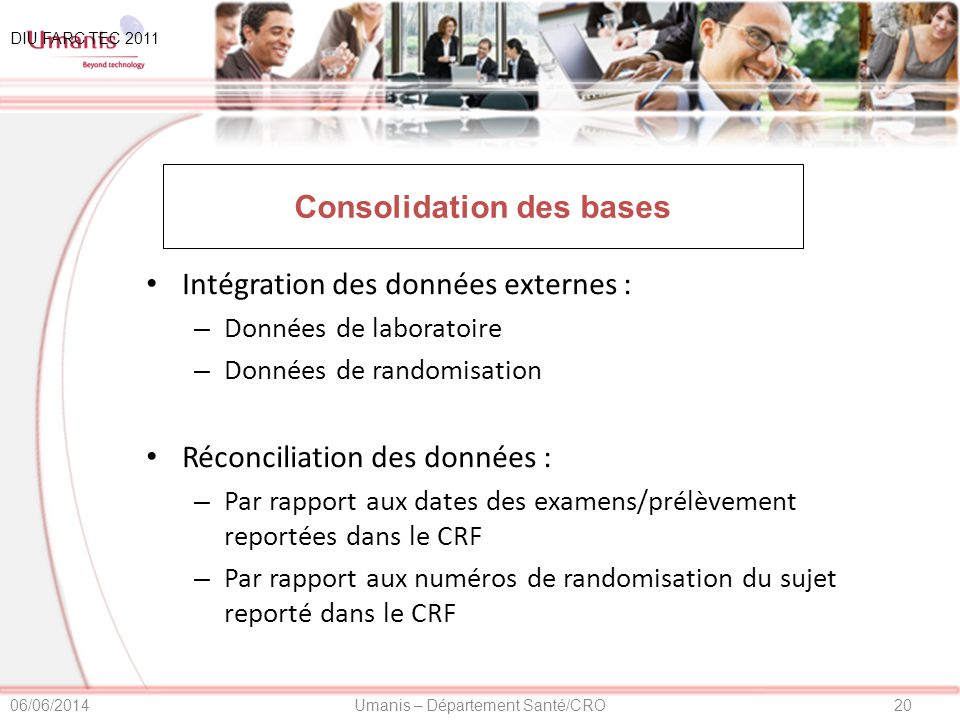 Consolidation des bases