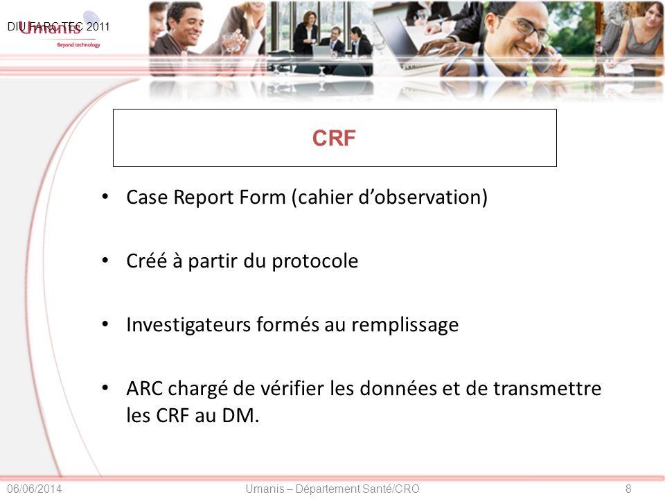 Case Report Form (cahier d'observation) Créé à partir du protocole