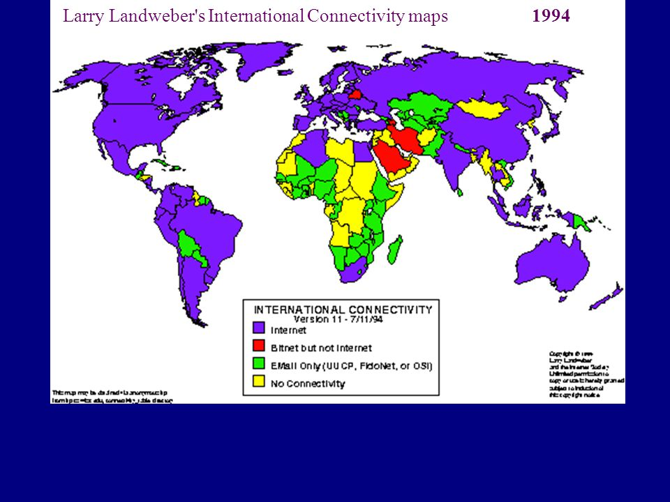 Larry Landweber s International Connectivity maps 1994