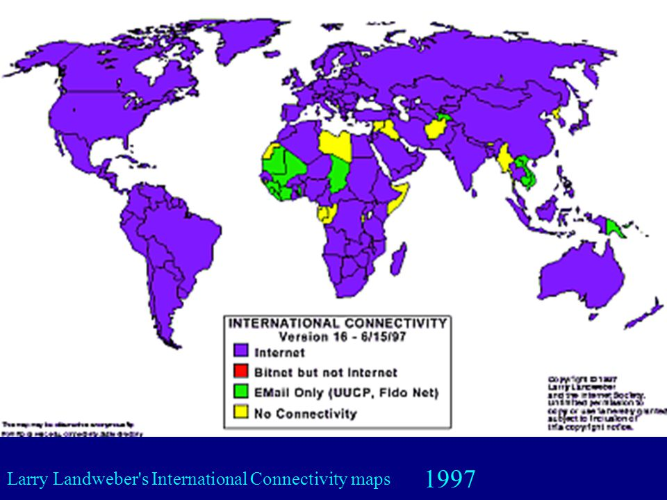 1997 Larry Landweber s International Connectivity maps